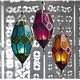 Collectible India Metal Green Glass Hollow Lantern Hanging Tea Light Candle Holder Light Lamp | Wall Decorative Candle Lanterns-1Pcs