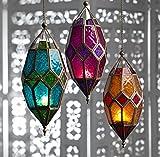 #1: Collectible India Metal Green Glass Hollow Lantern Hanging Tea Light Candle Holder Light Lamp | Wall Decorative Candle Lanterns-1Pcs