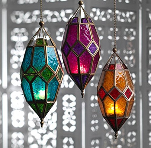craftvatika Metal Purple Glass Moroccan Style Lantern Candle Holders | Hurricane Hanging T- Light Holder Wall Hanging Lamp Mosaic lighting For Flooring Light-1Pcs