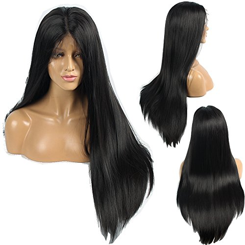 Ivan Cosmetic 6 inch Large Lace Part Yaki Straight Wig Synthetic Lace Front Kanekalon Fiber Heat Resistant HIGH Density Wigs With Baby Hair Pre Plucked Hair For All Skins Women 24inch Nature Black.