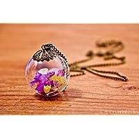Colgante de flores naturales secas de colores - Joya boho vintage botánico esfera de vidrio soplado con pétalos de flores 30mm - Regalo mujer - Cumpleaños