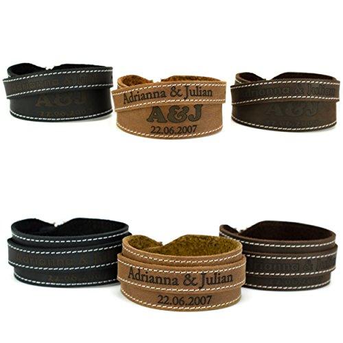 MenQ-Shop Lederarmband mit Gravur Wunschtext Wunschgravur Armband Schwarz