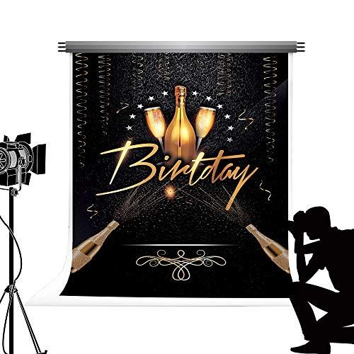 Kate Golden Fotohintergrund Happy Birthday Mikrofaser nahtlos Party fototermin für Studio Familie Fotografie 5x7ft /1,5 x 2.2 m