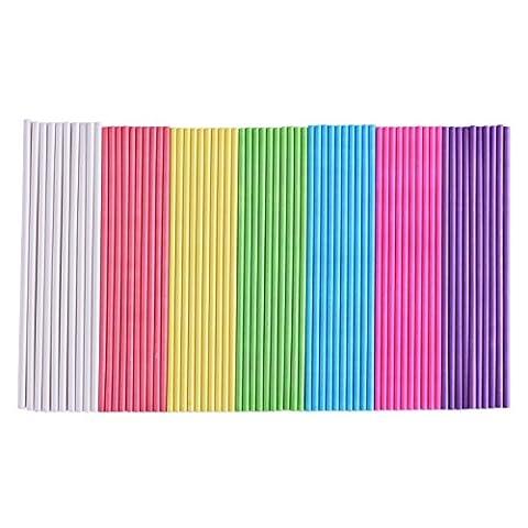 eBoot Lollipop Bâtonnets Papier Cake Pop Sticks, 6 Pouces, 200 Pièces (Bleu, Blanc, Violet, Jaune, Rose-Rouge, Rose, Vert)