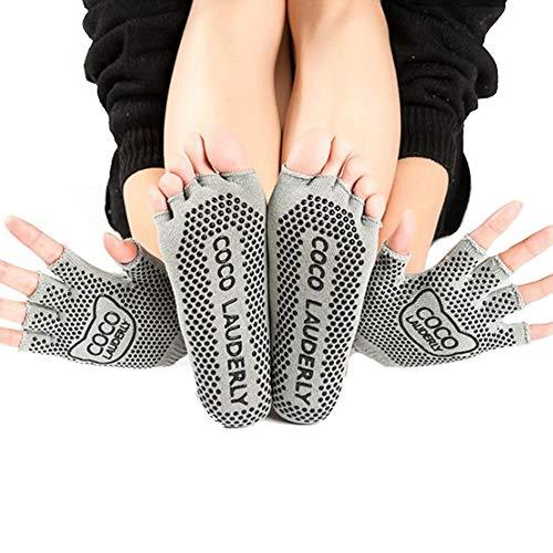 Premium-socken Set (AIURBAG Rutschfeste Toeless Yoga Socken Und Handschuhe Set, Atmungsaktive Socken Für Pilates, Dance, Barre, Halbe Zeh Mit Griffen,Gray)