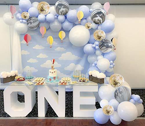 PuTwo Globos Azules Blancos 40 Piezas 12 Pulgadas Globos Bebe Azul Blancos Globos de Mármol Blanco y Gobos de Confeti para Decoraciones de Baby Shower para Bebés, Bautizos, Cumpleaños para Niños