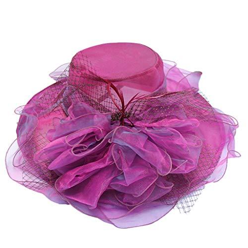 FRAUIT Damen Großer Britischer Bowler Hut Blumen Schleier Hochzeits Hut Tee Party Hut Blumen Maschen Mode Hut Sonnenschutz Sonnenhut Zylinder Fascinator Hochzeits Hut