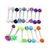 Piercing-Set für Zunge, Chirurgenstahl, verschiedene Motive wie Rose / Würfel etc., 1,6mm, 16-teilig