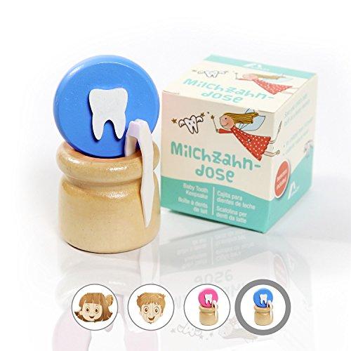 Amazy Milchzahndose inkl. Pinzette und Zahnfee Brief - Niedliche Zahndose aus Holz mit Schraubverschluss zur Aufbewahrung der Milchzähne und Zahnfeebrief für den ersten Wackelzahn (Klein | Blau)