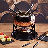 KitchenCraft Artesà Luxury 6-Person Swiss Fondue Set, Stainless Steel, Gift Box, Hammered Copper Finish