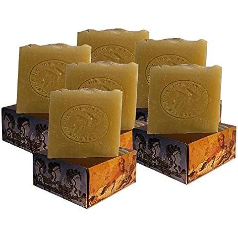 6 x CARIA Burbujeante PURE and SIMPLE Barra de jabón (piel sensible) Sin perfume Hecho a mano natural con oliva y aceite de coco 660g