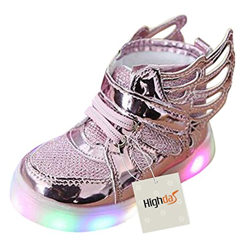 Highdas Kleinkind Jungen Mädchen LED Schuh bunte leuchten Sneakers Turnschuhe wings-Rosa