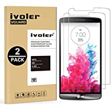 [2 Pack] LG G3 Protector de Pantalla, iVoler [0.3mm Dureza 9H] Protector de Pantalla de Vidrio Templado Cristal Protector para LG G3 -Dureza de Grado 9H, Espesor 0,30 mm, 2.5D Round Edge-[Ultra-trasparente] [Anti-golpe] [Ajuste Perfecto] [No hay Burbujas]- Garantía Incondicional de 18 Meses