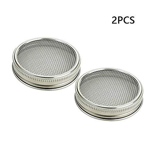 hl Spreu Deckel - 2 In 1 Superb Lüftung Edelstahl Mesh Jar Spreuging Lid Kit für breite Mund Mason Jars Canning Jars für die Herstellung von organischen Spreu Samen in Haus/Küche ()