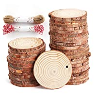 Anjing 50 Pcs Natural Wood Slices Unfinished Predrilled Log Discs Wooden Circles with Natural Jute Twine for DIY Crafts Christmas Decorations Ornaments