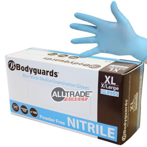 Handschuhe Aus Synthetischem Gummi (1000x Bodyguards blau Nitril X-Large Puderfrei Einmalhandschuhe Medical 8905)