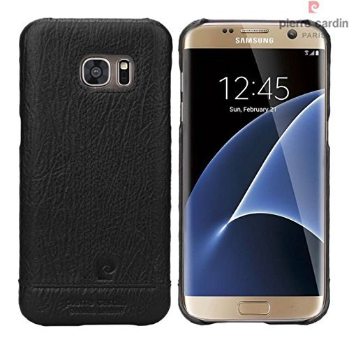 100-Original-Pierre-Cardin-Genuine-Leather-back-Cover-For-Samsung-Galaxy-S-7-Edge-Black