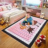 Baobe Baby Kinderteppich,Spielmatte Baumwolle Rutschfeste ungiftig Super große Spielmatte 145 cm * 195 cm * 2,5 cm waschbar Bunte schöne Tiere (rosa)
