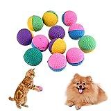 Demiawaking 12pcs Palle Morbido in Lattice Colorato Giocattoli Interattivo per Gatto e Cane Giochi da Masticare Palla di Teaser per Gattino