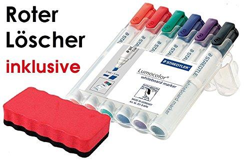 Staedtler 351 B WP6 Board-Marker Lumocolor whiteboard marker, Staedtler Box mit 6 Farben (1, Marker + Neodymlöscher)