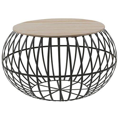 NEST Table basse ronde style vintage naturel et noir - L 65 x l 65 cm