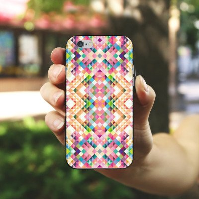 Apple iPhone 5s Housse étui coque protection Arc-en-ciel couleurs Motif Housse en silicone noir / blanc
