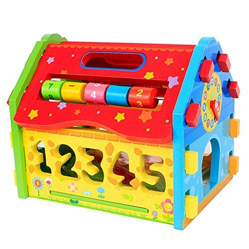 Hibote Wooden Plugging Spielzeug, Digital Shape Farbe Anerkennung Sorter House, Early Educational Geometrische Sortierung und Plugging Blocks Spielzeug für Kinder Kleinkind Digital Network Farbe
