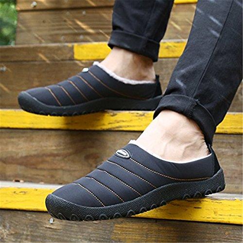 Auspicious beginning Hiver chaud Casual Soft antidéparant peluche cheville court Bottes Chaussures pour hommes et des femmes Noir