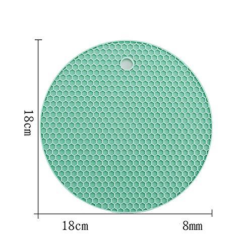 ZLDDE 4-er/8-er Set Runde Silikon Topf-Untersetzer hitzebeständig Hohe Qualität Dauerhaft rutschfest Haltbar Pflegeleicht farbliche Auswahl Grün A/dick 18x0.8cm