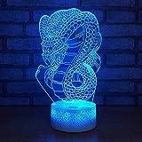 Lampada da notte Creativo Serpente 3D Lampada Risparmio energetico Elettricità Lampada da notte Cabina Vendita calda Led Colorato Cambia colore Lampada per bambini