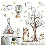 Little Deco DL305 Sticker Mural pour Chambre d'enfant Motif Animaux de la forêt Indien I Tente étoiles