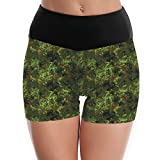 cleaer German Bundeswehr Flecktarn Camo Women Yoga Short Pant High Waist Sort Tummy Control Gym Sports Polyester Small