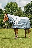 Bucas Bucas Buzz-Off Rain Full Neck - Silver/Blue Fliegendecke/Ekzemerdecke, im Rückenbereich wasserdicht und atmungsaktiv, Groesse:130