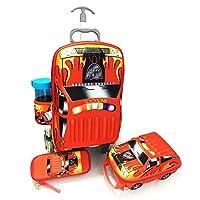 KID'S 3D Fire patrol School Trolley Bag for Kids, Set of 4 - red
