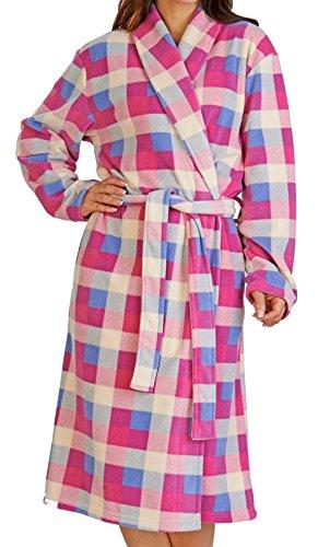 Womens Luxuriousy Soft Coral Fleece longtemps pleine longueur Robe de bain, s'habiller robe avec ceinture et poches Bleu et rose crème