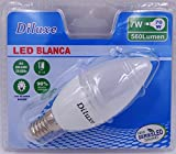 Pack 6 bombillas LED C37 ,consumo 7W(equivalente a 70 W) casquillo fino E14, 560lumen, luz blanca 6400K(no regulable) [Clase de eficiencia energética A+]
