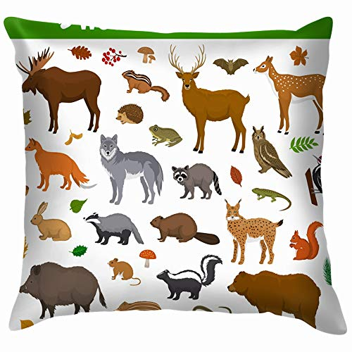 beautiful& Woodland Forest Animals Birds Collection Including Wildlife Animal Throw Pillows Covers Accent Home Sofa Cushion Cover Pillowcase Gift Decorative 18X18 Inch (Cartoons Chipmunks Halloween)