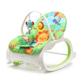 #3: Fiddle Diddle Baby Bouncer Cum Rocker with Vibration Function, Height Adjustment, Calming Music and 2 Toys (Lion Green)