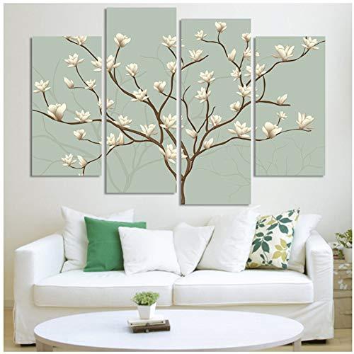 4 stücke Abstrakte Blume Baum MalereiModerne Öl-effekt Malerei Auf Leinwanddruck Wandkunst Geschenk Top Home Decoration-40x80cmx2 40x100cmx2 Kein Rahmen -