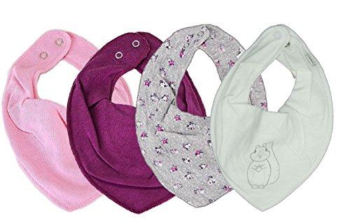 """PIPPI * SUPER 3er Set Jungen Mädchen Baby Kinder HALSTUCH """" Top-Designs"""" ★ + GRATIS 1 Bestseller Dreieckstuch ~ Pack mit 4 Stück (... BLÜMCHEN auf grau ...)"""