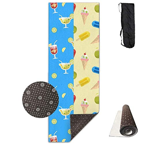 FGRYGF Yoga Mat Wide Multi-Purpose Exercise Mat Anti Slip Mat Comfort Fitness Unisex Supplies Drinks Fruits Ice Creams Yoga and Pilates Mat Exercise Mat with Carrying Bag
