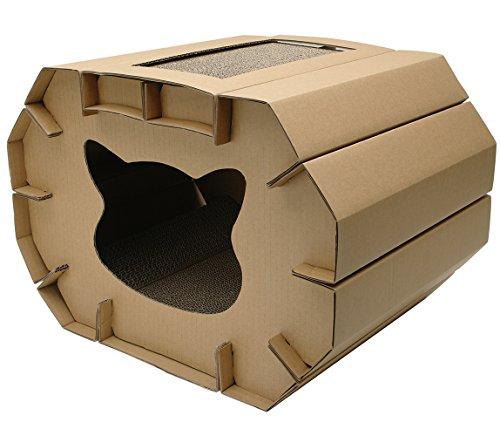 katzeninfo24.de Cat Love Katzenhütte mit Kratzelement, Bequem