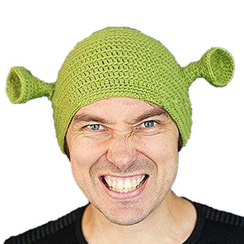 Ateasy HUT0000245 hüte fasching Monster Wollmütze Häkeln Winter Europa wintermütze herren mütze jungen damenmütze strickmütze damen herrenmützexxl halloweendeko frauen geschenke zum geburtst (grun)