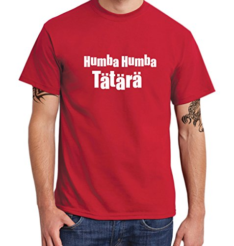 ::: HUMBA HUMBA TÄTÄRÄ ::: T-Shirt Herren Rot mit weißem Aufdruck