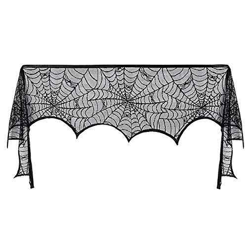 xinxun Halloween Black Lace Spider Web Kamin Abdeckung Geheimnisvolle Mantel Schal Cobweb für Halloween Weihnachten Tür Fenster Tisch Dekor Scary Film Nächte Party Supplies
