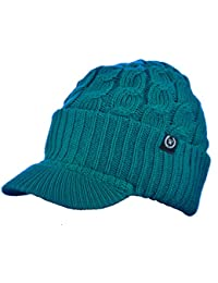 ac1cdbb2415 Newsboy Cable Knitted Hat with Visor Bill Winter Warm Hat for Women (Teal)