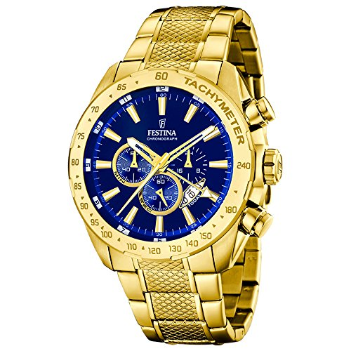 Festina Men's 46mm Gold Plated Bracelet Steel Case Quartz Blue Dial Chronograph Watch F16878/3