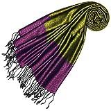 LORENZO CANA High End Luxus Pashmina 70% Seide 30% Viskose mit Krawattenmuster Schaltuch 70 x 190 cm zweifarbig Schal Stola Damenschal Damen