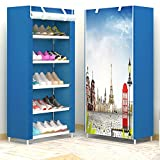 Lilongjiao Schuhe Lagerregal Regal mit Vliesabdeckung Kleiderschrank Schuhschrank (Size : Paris Sky)