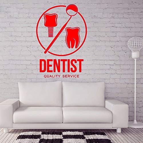 guijiumai Vinilo Tatuajes de Pared Clínica Dental Cartel Oral Decoración de la Pared Servicio de Calidad del Dentista Decoración de la habitación Etiqueta de la Pared F 2 42X61 CM